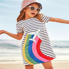 Baby Girls Clothes Striped Autumn Dress Animal Appliques Baby Kids Dress 18M-6T