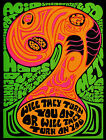 Psychedelic 1969 Propaganda Poster Against Anti Drugs Acid LSD Vintage Wall Art