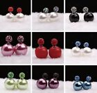 Womens Fashion Rhinestone Crystal Beads Double Sided Earring Two Ball Ear Stud