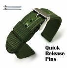 Green Canvas Nylon Fabric Watch Band Strap Army Military Style Steel Buckle 3052