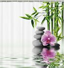 Spa Bamboo Tree Zen Stones Orchid Fabric SHOWER CURTAIN Water Reflection Asian