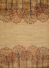 Brown Trees Blossoms Branches Rows Southwestern Area Rug Nature Print 750-05817