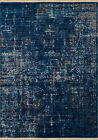 Blue Faded Distressed Cracks Scrolls Contemporary Area Rug Solid 1950-10268