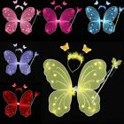 3Pcs Cosplay Girls Ladies Butterfly Fairy Wings and Wand Set Pink White Purple