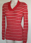 New Women's BE Red & White Striped Ribbed Knit SWEATER Casual V-Neck Shirt Top
