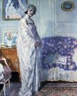 """FREDERICK FRIESEKE """"In Morning Room"""" DRESSING GOWN blue armchair CANVAS/PAPER"""