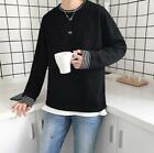 Fashion men striped owl embroidery pullover hoody O-neck loose solid tops shirt