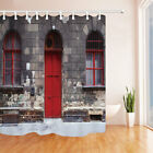 Travel Europe Old Store With Red Door Bathroom Fabric Shower Curtain Set 71Inch