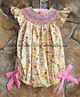 Smocked A Lot Girls Yellow Floral Short Bubble Buttercup Ruffled Easter Dress