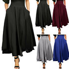 Women High Waist Pleated A Line Long Skirt Front Slit Belted Maxi Skirt Dress US