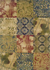 Multi-Color Squares Floral Scrolls Country Area Rug Patchwork 2422A