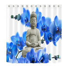 Orchid Buddha & Blue Flowers Waterpoof Fabric Bathroom Shower Curtain & 12 Hooks