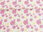 Vintage PolyCotton Fabric Pink Yellow Petunia Floral Flower Material Craft