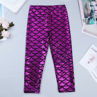 Girls Kids Metallic Fish Scales Leggings Mermaid Shiny Dance Party Pants SZ 3-7Y