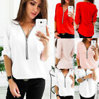 US Women's Ladies Long Sleeve Loose Blouse Casual Shirt Summer Tops T-Shirt