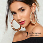 3 inch Bamboo Large Hoop Earrings Gold or Silver, Regular Style or Thick Style