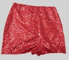 HIGH WAISTED RED SEQUIN SHORTS HOT PANTS XS S M L XL XXL XXXL