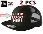 2 pcs Custom Logo Embroidered New Era 9Fifty Mesh Snap Black Hats- Free Shipping