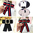 Retor Blouse Accessorie Stripe Bow Tie Necktie Ribbon Pendant Collar With Brooch