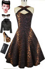 50s Style PINUP Leopard Print Caged Heart CRISS-CROSS Halter Dress with POCKETS