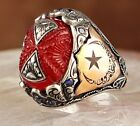Turkish 925 Sterling Silver Very SPECIAL amber stone Mens mans ring ALL SİZE us0