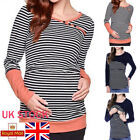 Women Stripe Breast-Feeding Top Maternity Clothes Pregnancy Blouse Nursing Shirt