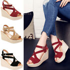 Women Casual Open Toe Wedge Strape Sandals High Heels Platform Shoes Fashion New