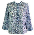 Anokhi Blue & White Floral Smock Front Cotton Blouse, Porcelain collection