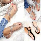 Ladies Womens Flat Diamante Summer Dress Party Holiday Toe Post Sandals Shoes Sz