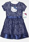 Hello Kitty Girls Blue Crocheted Dress Satin Waist S(6/6X) M(7/8) L(10/12)