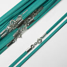 """18"""" (46cm) Turquoise Soft Suede Cord Necklace with 925 Sterling Silver Clasp"""