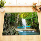 100% Polyester Fabric Green Jungle Clear River Waterfall Shower Curtain Bath Mat