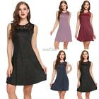 Women Sexy Sleeveless Hollow Lace Patchwork Glitter Evening Party Club RR6