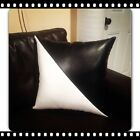 Home sofa black white leather accent decorative case cushion pillow cover 01