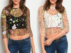 S M L Womens Crop Top Sheer Floral Embroidery 3/4 Sleeve Mesh Shirt Black White