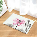 Lotus Flower Watercolor Painting Bathroom Fabric Shower Curtain With Hooks 71""
