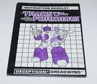 "Buy ""Dreadwind Action Figure Robot Instruction Manual 1988 Hasbro G1 Transformers"" on EBAY"