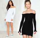 S M L Womens Long Sleeve Mini Bodycon Knit Dress Sexy Off Shoulder Black White