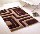 3D Striped Brown Beige Rug Thick Quality Hand Tufted Shaggy Rug