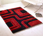 3D Striped Black Red Rug Thick Quality Hand Tufted Shaggy Rug