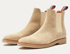 New Republic Tan Sand Genuine Suede Leather Chelsea Boots w Crepe Sole