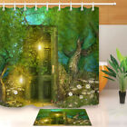 100% Polyester Fabric Door in The Fairy Forest Shower Curtain Bathroom Bath Mat