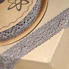 Grey Cotton Lace Ribbon 25mm - Vintage Wedding, Cards, Sewing