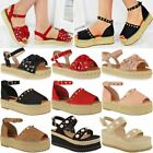 gold flatforms - Womens Ladies Flatforms Espadrilles Summer Sandals Strappy Embellished Shoe Size