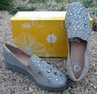 NEW Ladies Yellow Box Pewter Inspired Rhinestone Shimmer Slip On Shoes 35696