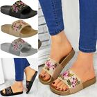 Womens Ladies Flat Sandals Summer Sliders Comfy Floral Embroidered Slip On Size