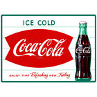 Ice Cold Coca-Cola Fishtail 1960s Wall Decal Restaurant Kitchen Decor Coke