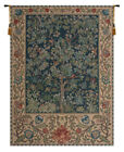 Tree of Life Blue William Morris Design Belgian Woven Tapestry Wall Hanging