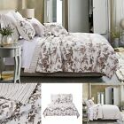 Oversized 100% Cotton Classic Toile Taupe Reversible Quilt Set Greenland Home