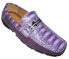 ASD-1 NEW Purple Croc embossed Casual LOAFER SLIP ON MOCCASIN MENS shoe all size